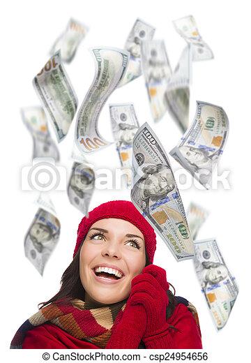 $100, אישה, מסביב, שלה, צעיר, לפול, חשבונות, רגש - csp24954656