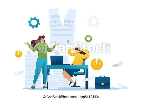 2d, character., shock., עצב, הסכם, מושג, סיום, גברת של עסק, שותפים, דירה, רכוש, רשת, שבור - csp81124434