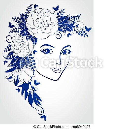 flowers., אישה, צפה - csp6940427