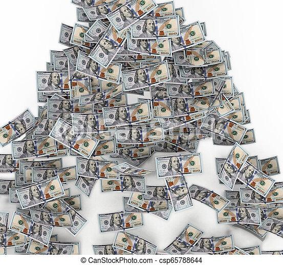 ground., דולר, דוגמה, 100, חשבונות, לפול, 3d - csp65788644
