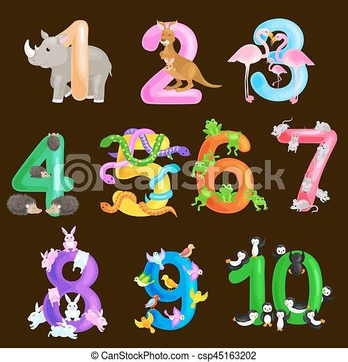 ordinal, יכולת, קבע, בעלי חיים, אי.בי.סי, אלפבית, דוגמה, בית ספר, אוסף, או, גן ילדים, כמות, ספרים, וקטור, מספרים, פוסטרים, יסודי, ללמד, לספור, ילדים, חשב - csp45163202