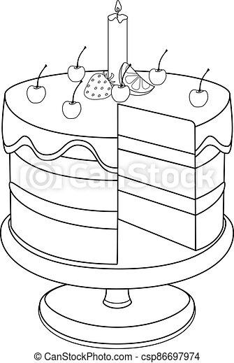 stand., מישהו, lemon., תותי שדה, חתוך, דוגמה, -, עוגה, אחסן, outline., קרם, ליניארי, בלי, דובדבנים, חתיכה, נר, coloring. - csp86697974