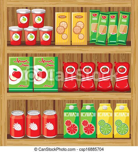 supermarket., shelfs, אוכל. - csp16885704